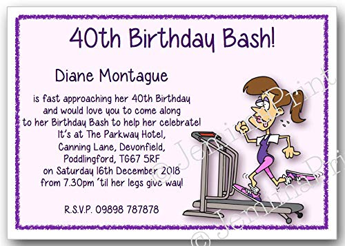 10 Personalised Fitness Birthday Party Invitations 18th 21st 30th 40th 50th 60th 65th 70th 80th 90th