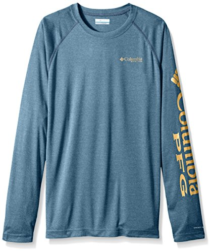 Columbia Mens Terminal Tackle Heather Long Sleeve Shirt, Blue Heron Heather/Dark Banana, X-Large