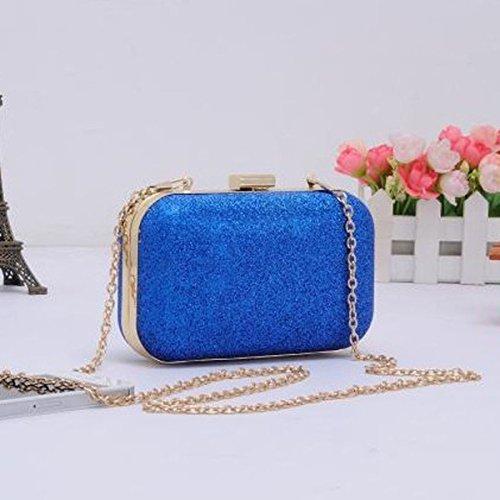 Soirée Brillant Blue Glitter En Chaîne Femmes D'embrayage Avec De Case Bandoulière Sac Hard Purse W0H0nqCw1