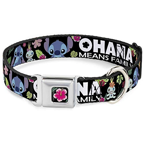 Buckle-Down Seatbelt Buckle Dog Collar - OHANA MEANS FAMILY/Stitch & Scrump Poses/Tropical Flora Black/White/Multi Color - 1