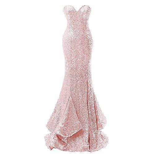 Formelle Abendkleider Evening Pink Women' Kleid Fanciest Ballkleid Sequin Gold Sweetheart Meerjungfrau wUCUYgqIx