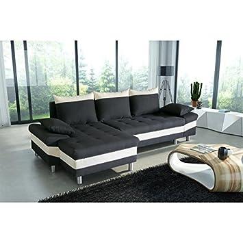 Générique Pegase canapé d angle Convertible Tissu 5 Places - 205x65x44 cm -  Noir Blanc befc297eb556