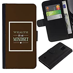 KingStore / Leather Etui en cuir / Samsung Galaxy S5 Mini, SM-G800 / Texte Wealth Affiche rétro