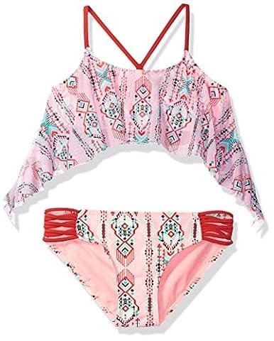 Gossip Girl Big Girls' Desert Moon Two Piece Bikini Swimsuit, Brown/Pink, 10 - Brown 2 Piece Bikini Swimsuit