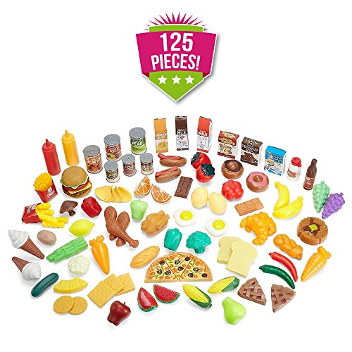 1a69f5eee9af Play Food Set for Kids   Toy Food for Pretend Play - Huge 125 Piece Play  Kitchen ...