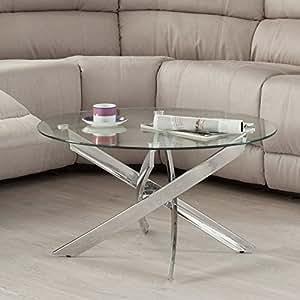 Mesa de centro redonda dalila de cristal templado y patas for Mesa jardin cristal amazon
