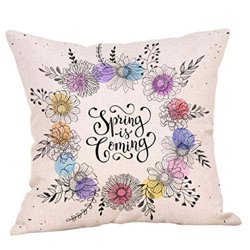 (Wreath Print Throw Pillow Covers, Fulijie Linen Soft Throw Cushion Covers for Sofa Bed Car Home Decor 18 x 18 Inch)
