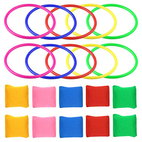 (FEPITO Bean Bags Games Supplies for Outdoor Team Games Sports Days Ring Toss Game Favors (2 in 1 (20pcs)))