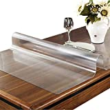 OstepDecor Custom 1.5mm Thick Frosted Plastic Table Cover Protector Desk Pad for Glass Top Coffee End Dining Table Multi-Size | Rectangular 36 x 60 Inches