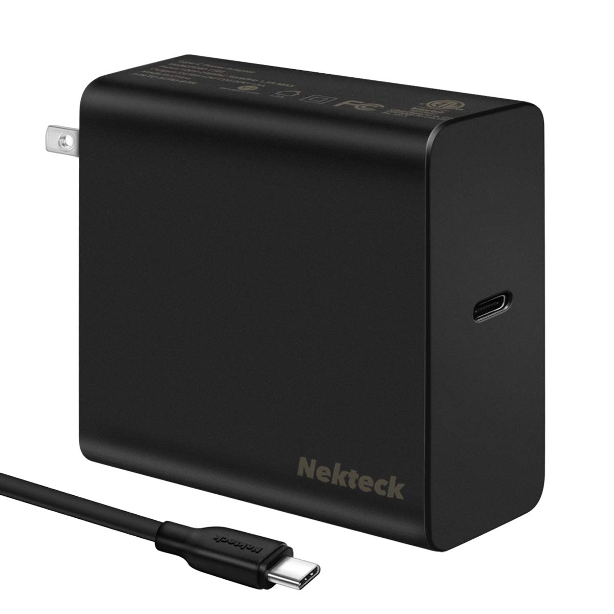 [USB-IF Certified] USB C Charger, Nekteck 60W Type-C Wall Charger Power Delivery PD3.0 Travel Charger Compatible with MacBook Pro, 2018 MacBook Air iPad Pro, Pixel 3, Galaxy Note 9/ S9 with 6ft Cable