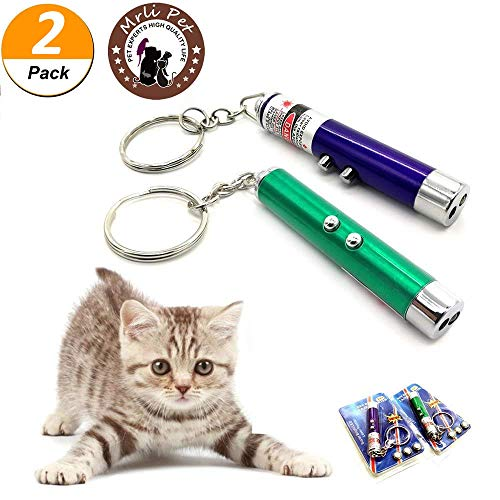 - Mrlipet Interactive LED Training Funny Cat Play Toy Laser Pointer Pen Mouse Animation, Multifunctional UV Counterfeit Money Detector Pens (2 Pack)