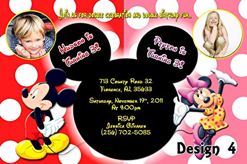 Mickey Minnie Mouse Personalized Birthday Invitations More Designs (Mickey And Minnie Party Invitations)