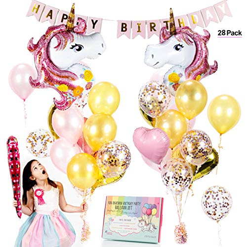 Unicorn Balloons Set - Pink & Rose Gold Unicorn Party Supplies with Confetti & Heart balloons for a beautiful birthday bouquet or baby shower. Gorgeous Balloon decorations w/ free Birthday Girl Gift!