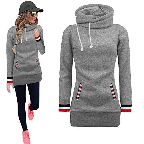 2019 New Women's Hoodies,Long Sleeve Blouse Sweater Sweatshirt Pullovers Tunics Tops by-NEWONESUN Gray