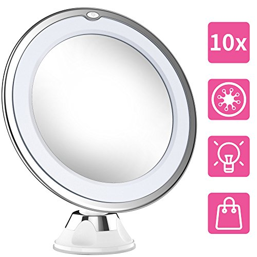 2018 NEWEST Professional 10X Magnifying Makeup Vanity Mirror With Lights, LED Lighted Portable Cosmetic Magnification Light up Mirrors with Locking Suction Cup for Home Bathroom Shower - Makeup Magnifying