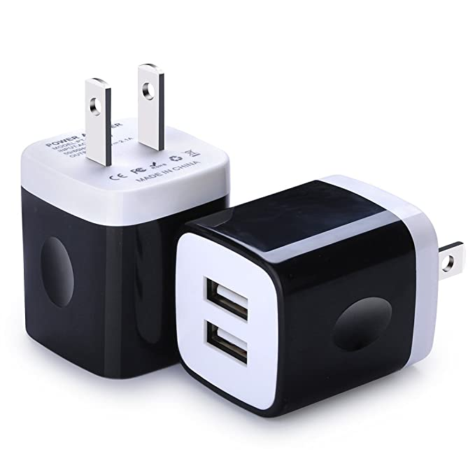 Wall Charger, Charging Block Brick, FiveBox 2-Pack Dual Port 2.1A USB Wall Charger Base Charging Cube Plug Phone Charger Box for iPhone X/8/7/6/6s ...