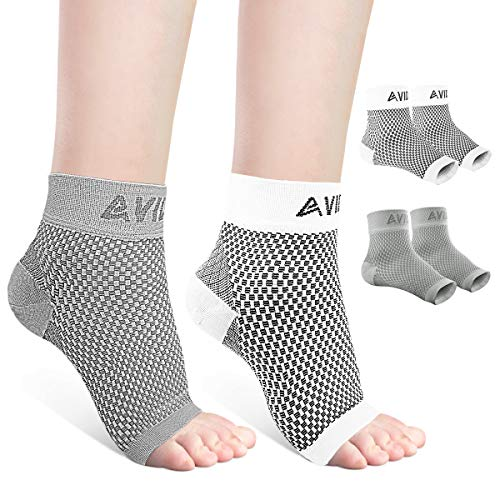 AVIDDA Ankle Brace for Men Women 2 Pairs Plantar Fasciitis Socks with Arch Support Open Toe Compression Foot Sleeve for Achilles Tendon Support Sprained Ankle Swelling Flat Feet Gray & White M