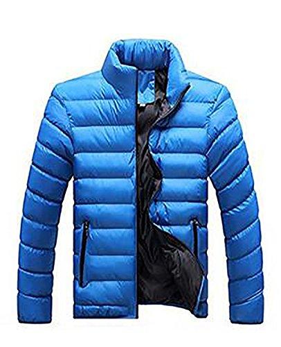 Herren Verpackbar Stehkragen Leicht Warmer Winter Jacken Puffa Gepolstert Mantel (EU L Asian XXL, Blau Schwarz)