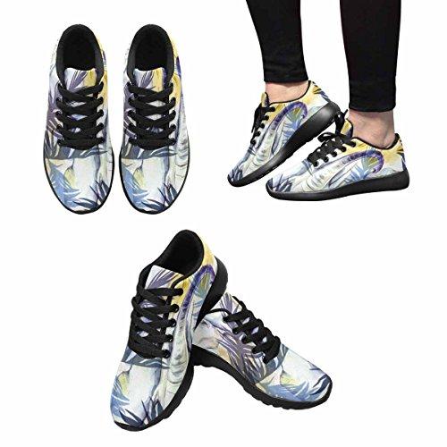 Interestprint Femmes Jogging Running Sneaker Léger Aller Facile Marche Confort Sport Chaussures Éléphants Avec Des Feuilles Tropicales Colorées