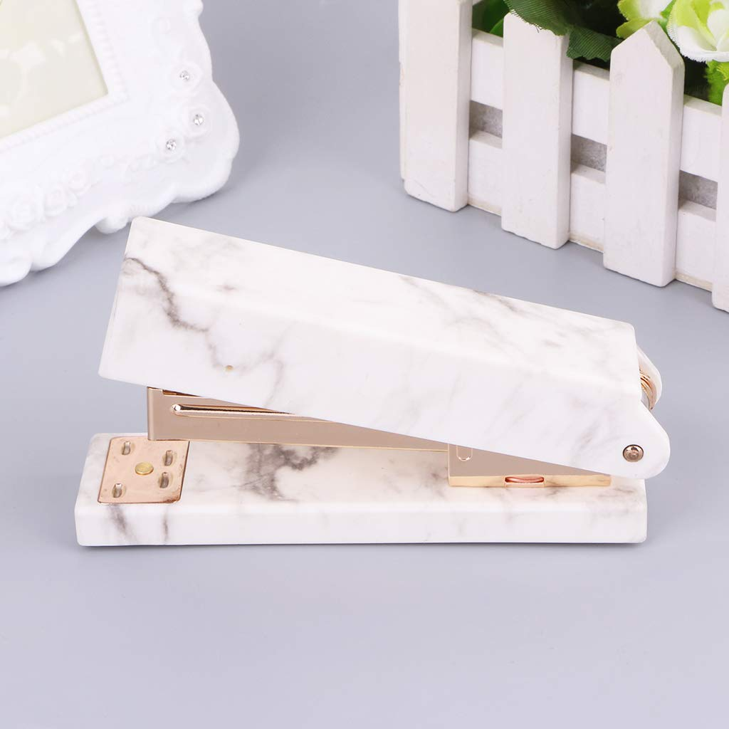 Liaobeiotry Marble Texture Stapler Manual Staples for Office Student School Home Stationery Manual Staplers