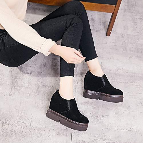 Invisibili Alto Donna Nero Col Mocassini Da Moda 10cm Ginnastica Nubucks Scarpe Liangxie Casual Tacco qPa6q4