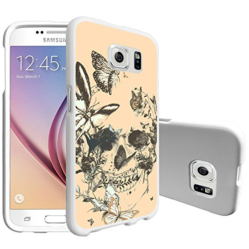 (MINITURTLE Case Compatible w/ UltraSlim Smooth White Case Compatible w/ Samsung Galaxy S6 SMG920 [MINITURTLE Snap Shell Series][Matte White] Skull Butterfly)