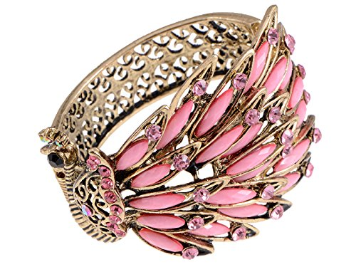 Alilang Womens Antique Golden Tone Peacock Bracelet Bangle With Pink Crystal Gems -