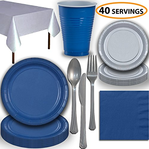 Disposable Party Supplies, Serves 40 - Blue and Silver - Large and Small Paper Plates, 12 oz Plastic Cups, Heavyweight Cutlery, Napkins, and Tablecloths. Full Two-Tone Tableware Set