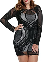 Meaneor Plus Size Women's See Through Lace Party Club Dress