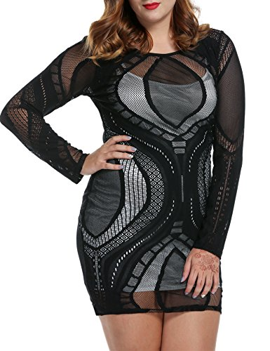 Meaneor Plus Size Series Women's See Through Long Sleeve Bodycon Party Club Dress (4XL, Black) (Sexy Plus Dress)