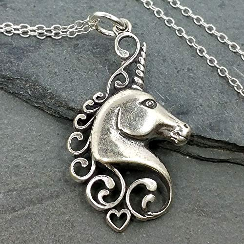 Unicorn Head Charm Necklace - 925 Sterling Silver, 18