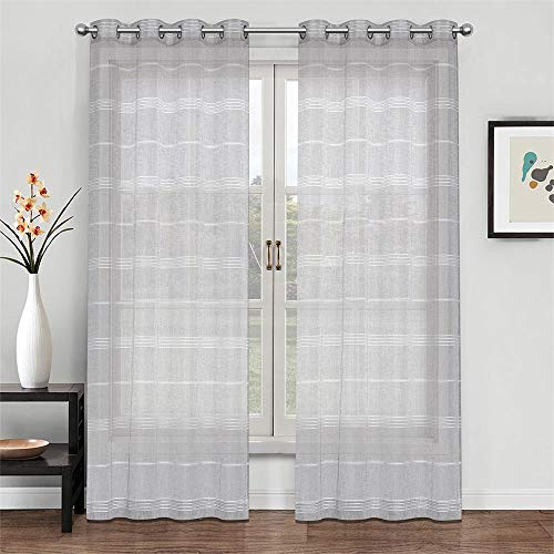 (Everyday Celebration Faux Linen Sheer Curtains, Grommet Top Stripe Voile Semi Sheer Voile Drapes (1 Panel, 52 x 84 Inch Natural=Light Grey))