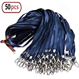 Navy-Blue Lanyard Bulk Clip Swivel Hooks Nylon Neck Flat Lanyard with Clips Durably Woven Navy-Blue Badge lanyards with Clip Navy-Blue lanyards for id Badges, lanyards 50Pack 32-inch