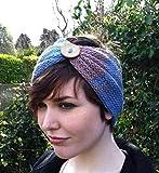 Handmade Blue Purple Merino Wool Headband with Button