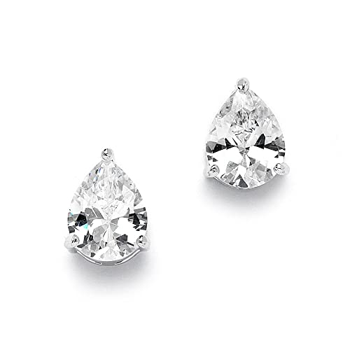 f247319b5 Amazon.com: Mariell 2 Carat CZ Pear-Shaped Cubic Zirconia Stud Solitaire  Earrings Plated in Genuine Silver Platinum: Jewelry