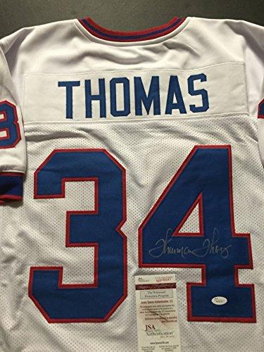Autographed/Signed Thurman Thomas Buffalo Bills White Football Jersey JSA COA ()