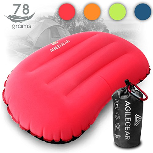 Agile Gear Camp Pillow - Inflatable Ultralight Camping and backpacking sleeping pillow - Compact Soft Compressible, Packable, Ergonomic neck and lumbar support for travel by (Red)