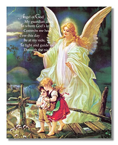 home & kitchen, wall art,  posters & prints  picture, Guardian Angel Poem Children Bridge Religious Wall Picture Framed Art Print in US1