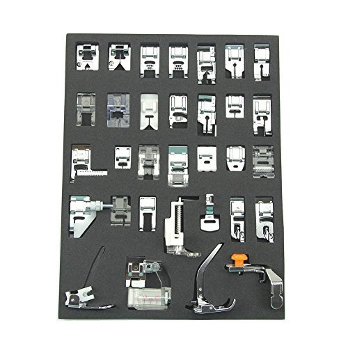 Elna Embroidery - 32pcs Sewing Machine Presser Foot Set for Brother, Babylock, New Home, Janome, Elna, Toyata, Singer, Elna, Simplicity, Necchi, New Home, Kenmore