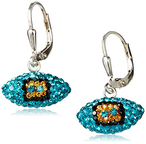 NFL Jacksonville Jaguars Women's Football Earrings, Teal/Black/Gold, (Teal Nfl Football)