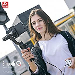 Zhiyun Smooth Q + Remote, 3-Axis Handheld Gimbal Stabilizer for Smartphone Like IPhone 7 Plus 6 Plus Samsung Galaxy S7 S6 S5 Wireless Control Vertical Shooting Panorama Mode (Zhiyun Smooth-Q Black)