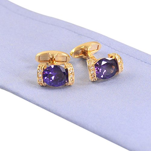Glitter Oval Purple Zircon Upscale Business Male Cufflink with Purple Zircon