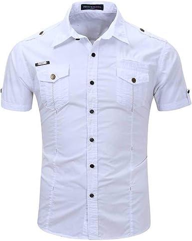 Hombres Solapa botón de Verano Bolsillo más tamaño algodón Color sólido Cargo Militar Manga Corta Camisa Top: Amazon.es: Ropa y accesorios