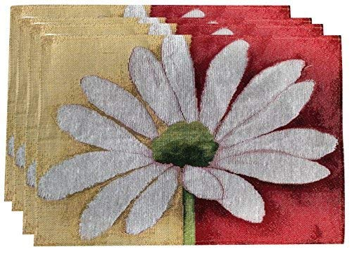 Tache Home Fashion DB9046PM-13 X 19 Colorful Red Yellow White Daisy Floral Spring Decorative Tapestry Placemat Set for Kitchen Dining Table, 13x19, Loves Me Not, 4 Piece