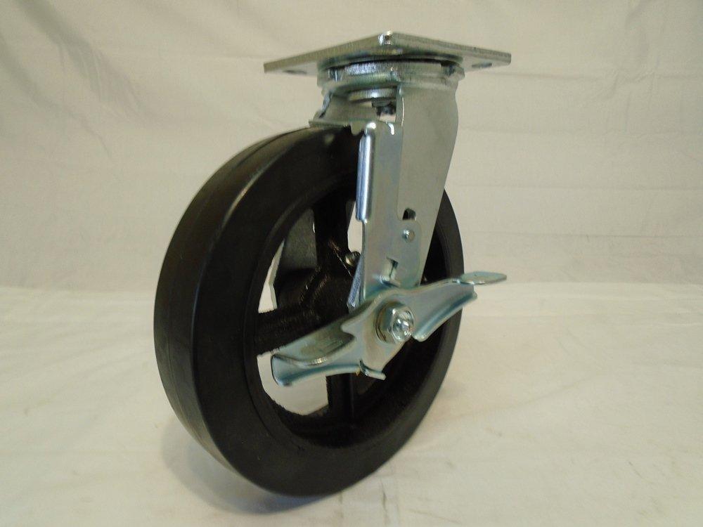 8'' X 2'' Swivel Caster Rubber Wheel on Steel Hub with Brake 600 Lbs Each Tool Box