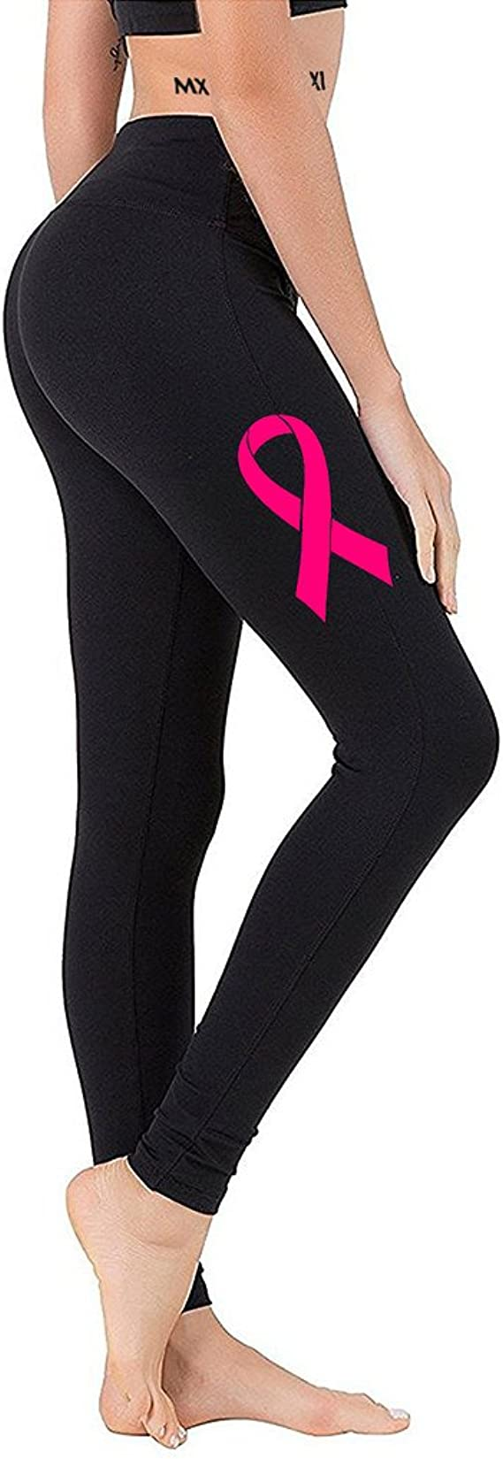 Interstate Apparel Juniors Pink Breast Cancer Ribbon V393 Black Athletic Workout Leggings