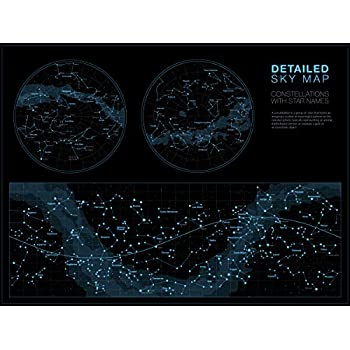 Amazon Com Map Of The Sky Poster 36 X 24in Star Chart Poster