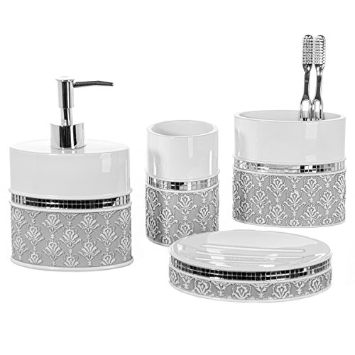 Creative Scents 4 Piece Bathroom Accessory Set - Gift Package - Soap Dish and Dispenser, Toothbrush Holder, and Tumbler Cup - Mirror Damask Style - by
