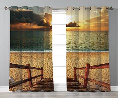 (Thermal Insulated Blackout Grommet Window Curtains,Beach,Dramatic Beach Scenery with Majestic Rain Cloud Horizon Heaven Paradise Theme,Cream Blue Orange,2 Panel Set Window Drapes,for Living Room)