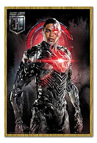 Justice League Cyborg Solo Poster Kork Pinnwand Eichenholz-Rahmen, 96,5 x 66 cm (ca. 96,5 x 66 cm)